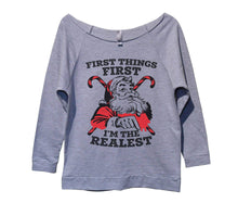 First Things First I'm The Realest Womens 3/4 Long Sleeve Vintage Raw Edge Shirt Small Womens Tank Tops Grey