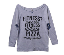 Fitness? More Like Fitness Whole Pizza In My Mouth Womens 3/4 Long Sleeve Vintage Raw Edge Shirt Small Womens Tank Tops Grey