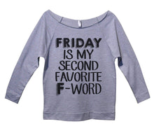 Friday Is My Second Favorite F - Word Womens 3/4 Long Sleeve Vintage Raw Edge Shirt Small Womens Tank Tops Grey