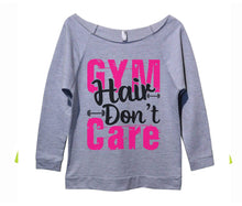 Gym Hair Don't Care Womens 3/4 Long Sleeve Vintage Raw Edge Shirt Small Womens Tank Tops Grey