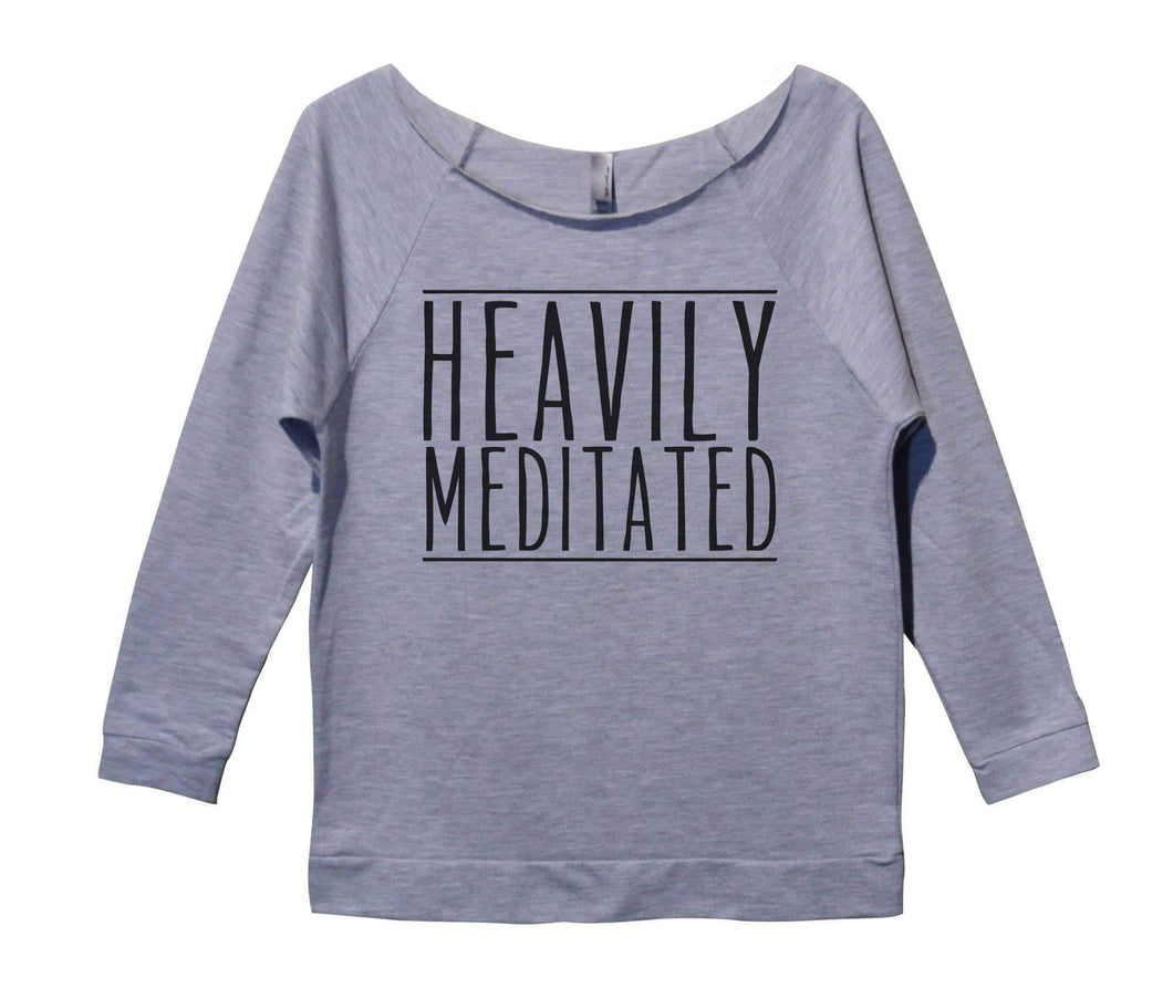 Heavily Meditated Womens 3/4 Long Sleeve Vintage Raw Edge Shirt Small Womens Tank Tops Grey