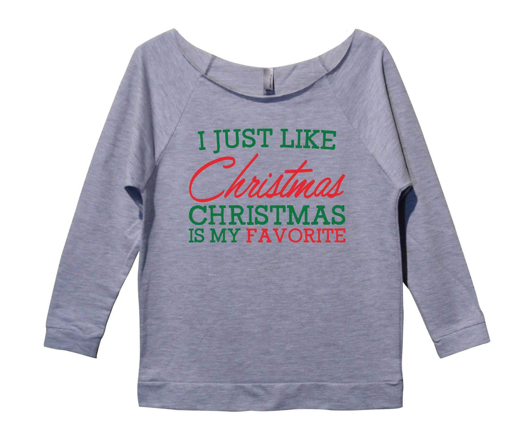 I Just Like Christmas Christmas Is My Favorite Womens 3/4 Long Sleeve Vintage Raw Edge Shirt Small Womens Tank Tops Grey