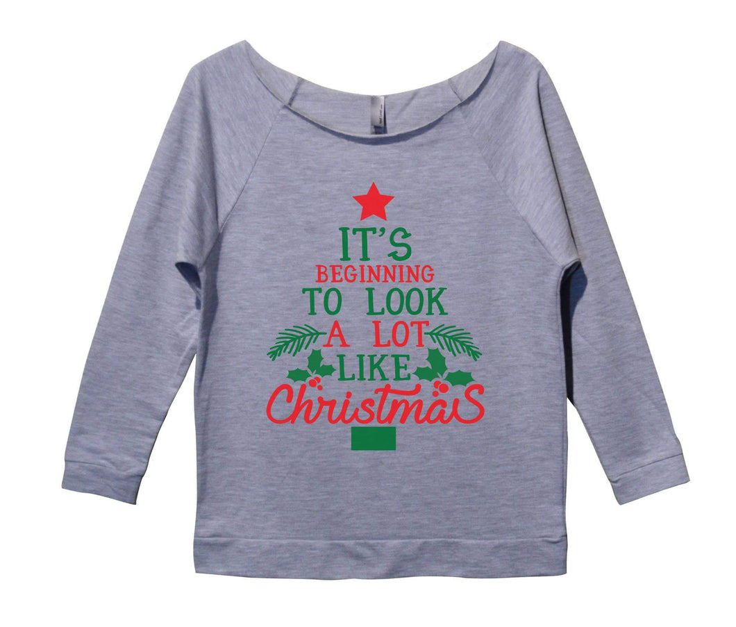 It's Beginning To Look A Lot Like Christmas Womens 3/4 Long Sleeve Vintage Raw Edge Shirt Small Womens Tank Tops Grey