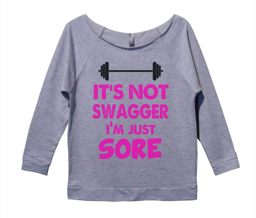 It's Not Swagger I'm Just Sore Womens 3/4 Long Sleeve Vintage Raw Edge Shirt Small Womens Tank Tops Grey