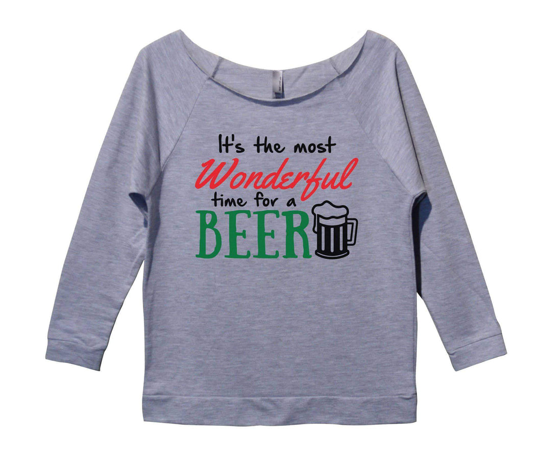 It's The Most Wonderful Time For A Beer Womens 3/4 Long Sleeve Vintage Raw Edge Shirt Small Womens Tank Tops Grey