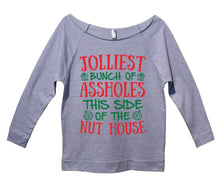 Jolliest Bunch Of Assholes This Side Of The Nuthouse Womens 3/4 Long Sleeve Vintage Raw Edge Shirt Small Womens Tank Tops Grey