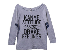 Kanye Attitude With Drake Feelings Womens 3/4 Long Sleeve Vintage Raw Edge Shirt Small Womens Tank Tops Grey