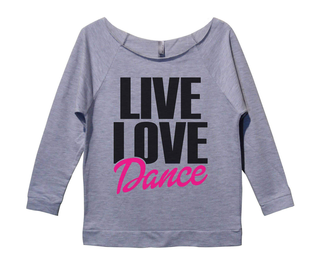 Live Love Dance Womens 3/4 Long Sleeve Vintage Raw Edge Shirt Small Womens Tank Tops Grey