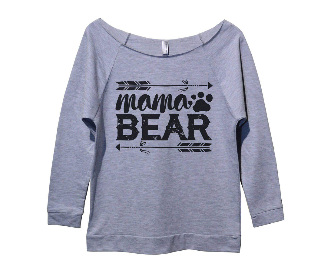 Mama Bear Womens 3/4 Long Sleeve Vintage Raw Edge Shirt Small Womens Tank Tops Grey