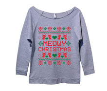 Meowy Christmas Cat Shirt Meow Womens 3/4 Long Sleeve Vintage Raw Edge Shirt Small Womens Tank Tops Grey