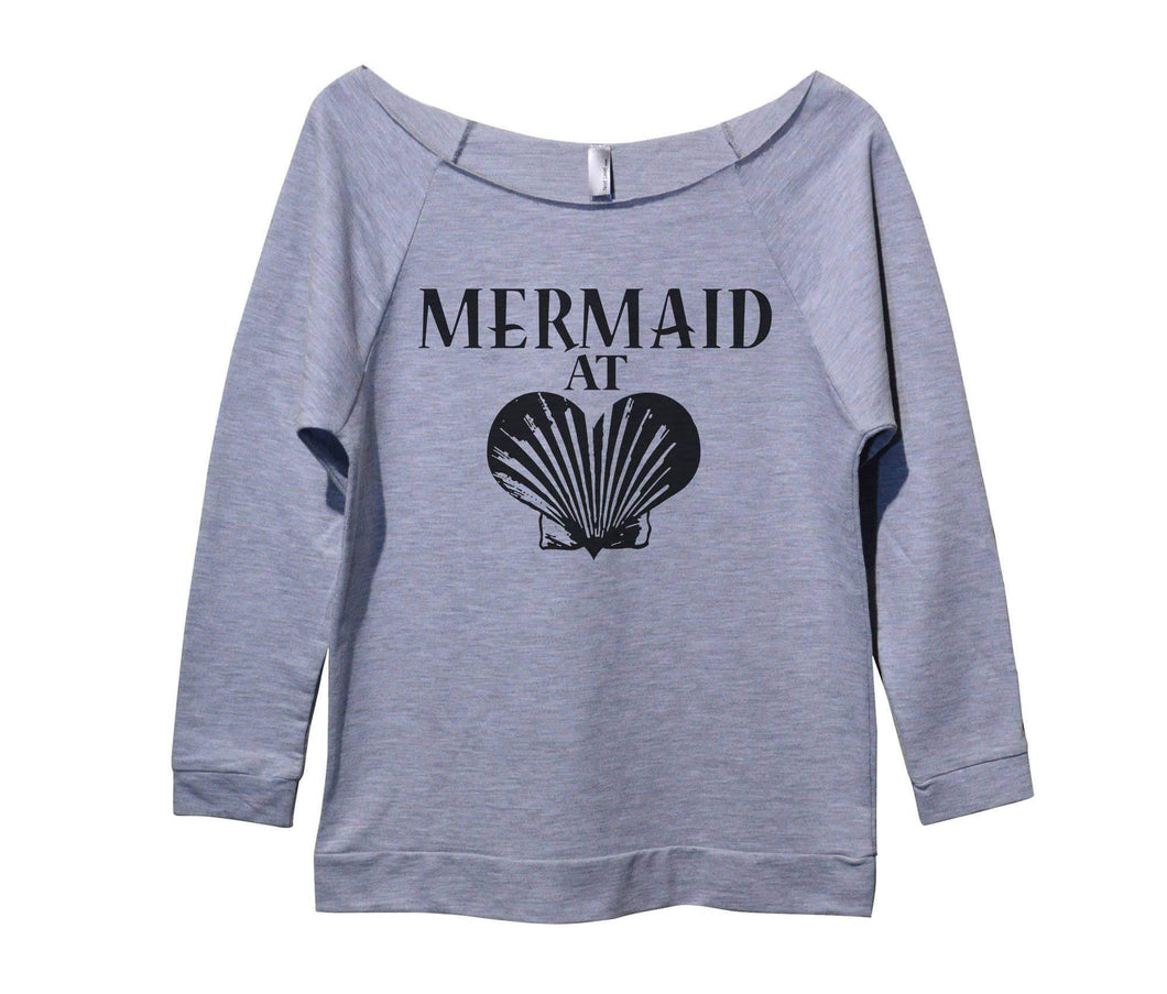 Mermaid At Heart Womens 3/4 Long Sleeve Vintage Raw Edge Shirt Small Womens Tank Tops Grey