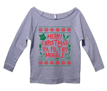 Merry Christmas Ya Filthy Muggle Womens 3/4 Long Sleeve Vintage Raw Edge Shirt Small Womens Tank Tops Grey