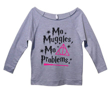 Mo Muggles Mo Problems Womens 3/4 Long Sleeve Vintage Raw Edge Shirt Small Womens Tank Tops Grey