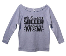 My Favorite Soccer Star Calls Me Mom Womens 3/4 Long Sleeve Vintage Raw Edge Shirt Small Womens Tank Tops Grey