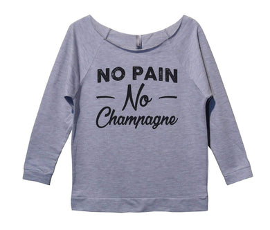 No Pain No Champagne Womens 3/4 Long Sleeve Vintage Raw Edge Shirt Small Womens Tank Tops Grey