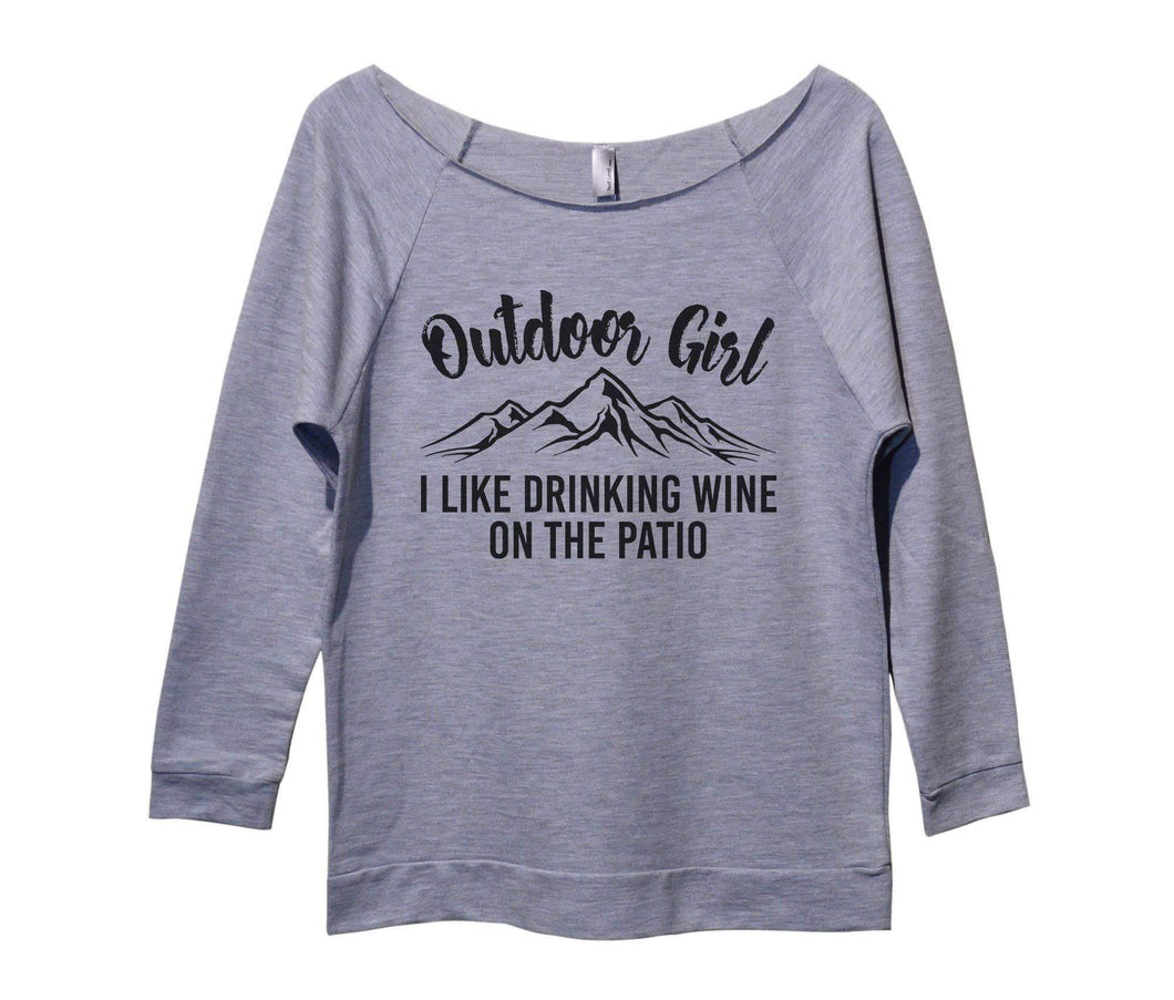 Outdoor Girl I Like Drinking Wine On The Patio Womens 3/4 Long Sleeve Vintage Raw Edge Shirt Small Womens Tank Tops Grey