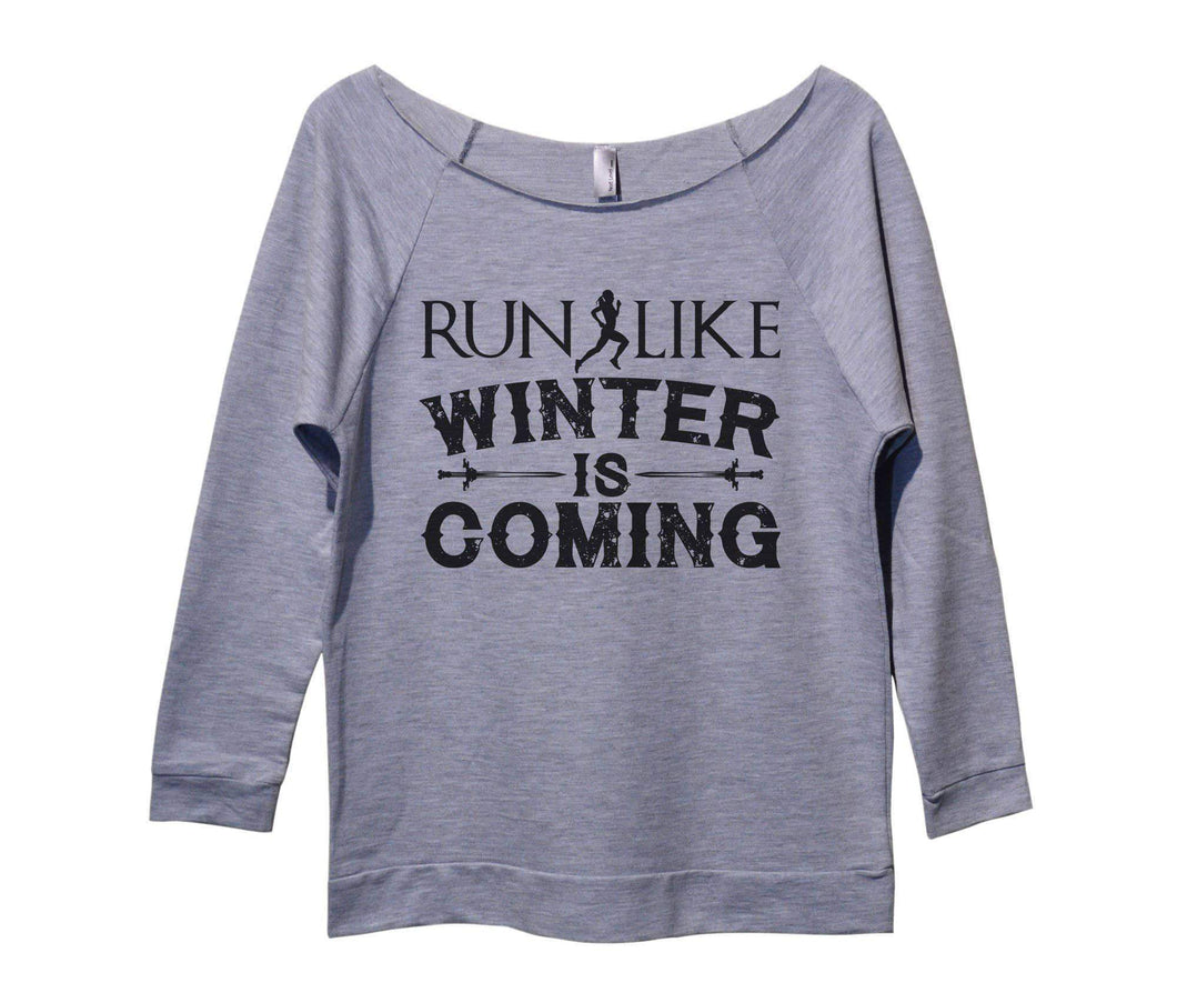 Run Like Winter Is Coming Womens 3/4 Long Sleeve Vintage Raw Edge Shirt Small Womens Tank Tops Grey