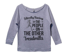 Silently Racing The People On The Other Treadmills Womens 3/4 Long Sleeve Vintage Raw Edge Shirt Small Womens Tank Tops Grey
