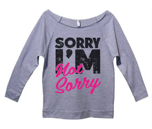 Sorry I'm Not Sorry Womens 3/4 Long Sleeve Vintage Raw Edge Shirt Small Womens Tank Tops Grey