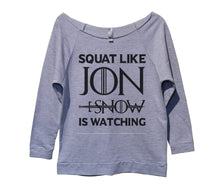 Squat Like Jon Snow Is Watching Womens 3/4 Long Sleeve Vintage Raw Edge Shirt Small Womens Tank Tops Grey