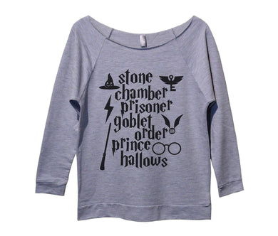 Stone Chamber Prisoner Goblet Order Prince Hallows Womens 3/4 Long Sleeve Vintage Raw Edge Shirt Small Womens Tank Tops Grey