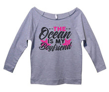 The Ocean Is My Boyfriend Womens 3/4 Long Sleeve Vintage Raw Edge Shirt Small Womens Tank Tops Grey