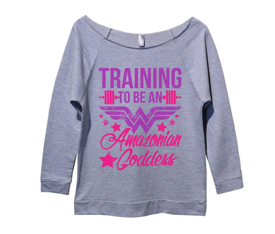 Training To Be An Amazonian Goddess Womens 3/4 Long Sleeve Vintage Raw Edge Shirt Small Womens Tank Tops Grey