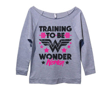 Training To Be Wonder Woman Womens 3/4 Long Sleeve Vintage Raw Edge Shirt Small Womens Tank Tops Grey