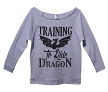 Training To Ride Dragon Womens 3/4 Long Sleeve Vintage Raw Edge Shirt Small Womens Tank Tops Grey