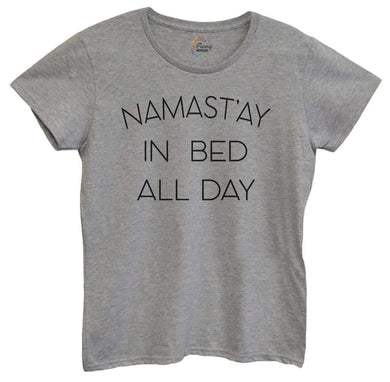 Womens Namast'ay In Bed All Day Tshirt Small Womens Tank Tops Grey Tshirt