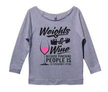 Weights And Wine Because Punching People Is Frowned Upon Womens 3/4 Long Sleeve Vintage Raw Edge Shirt Small Womens Tank Tops Grey