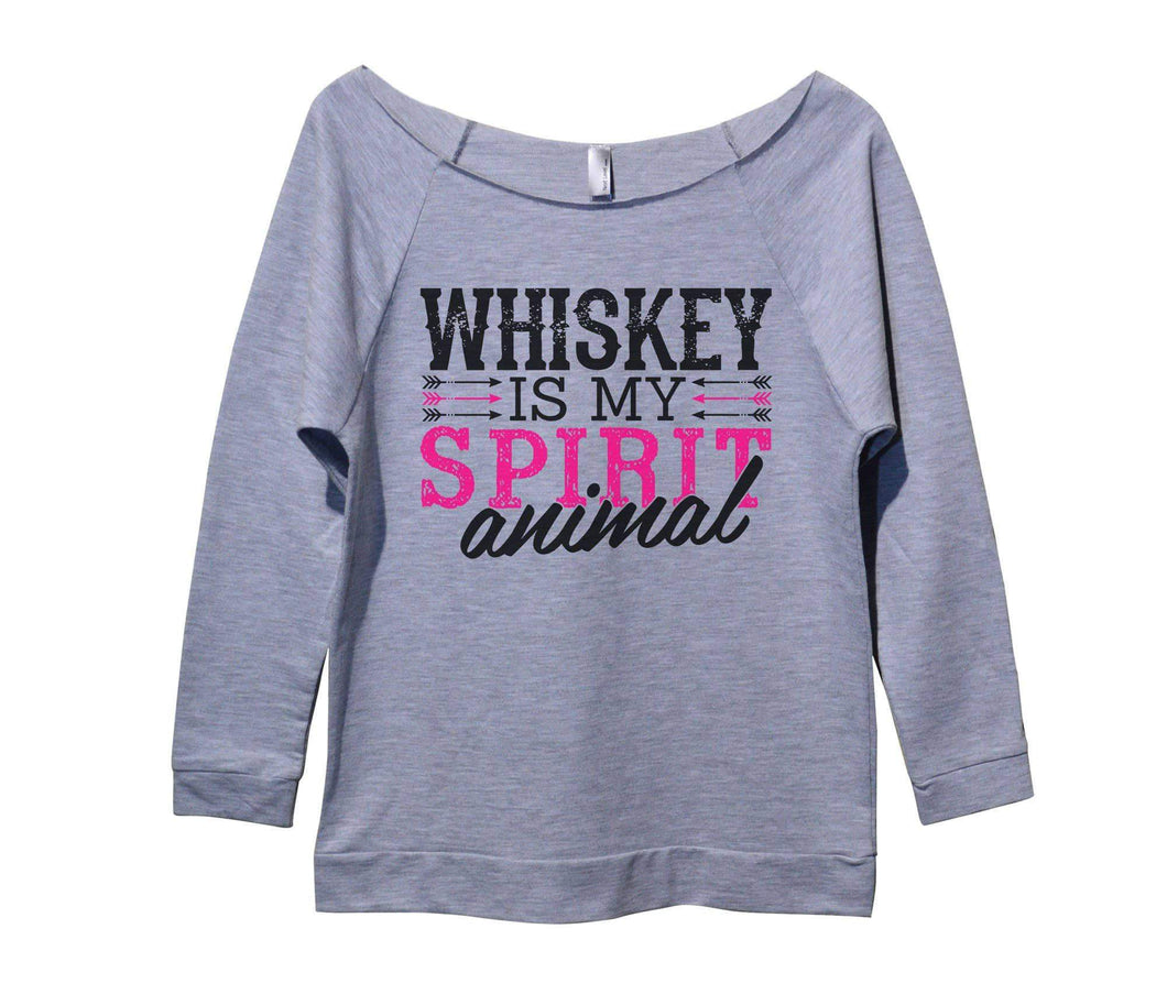 Whiskey Is My Spirit Animal Womens 3/4 Long Sleeve Vintage Raw Edge Shirt Small Womens Tank Tops Grey
