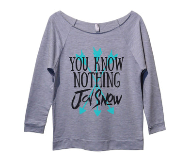You Know Nothing Jon Snow Womens 3/4 Long Sleeve Vintage Raw Edge Shirt Small Womens Tank Tops Grey