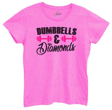 Womens Dumbbells And Diamonds Tshirt Small Womens Tank Tops Hot Pink Tshirt