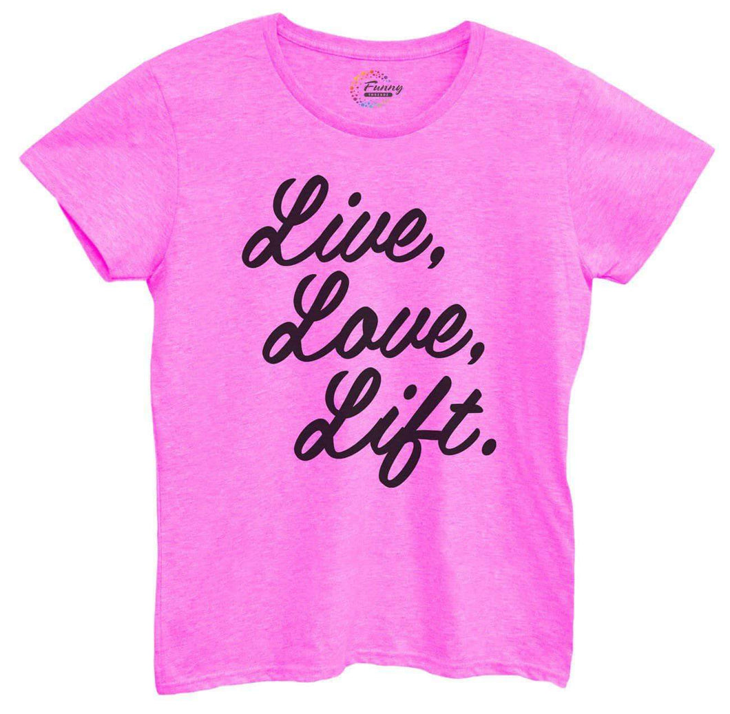 Womens Live Love Liftv3 Tshirt Small Womens Tank Tops Hot Pink Tshirt
