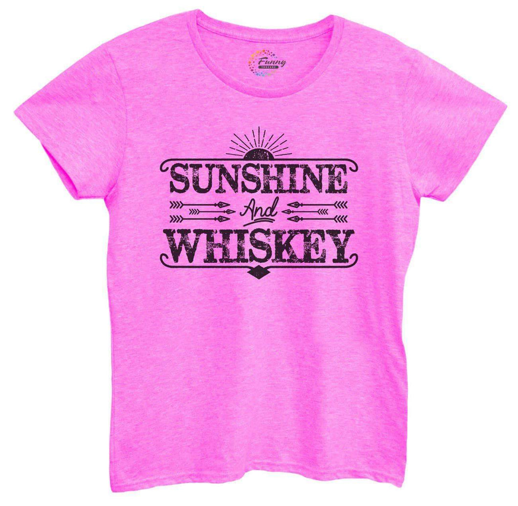 Womens Sunshine And Whiskey Tshirt Small Womens Tank Tops Hot Pink Tshirt
