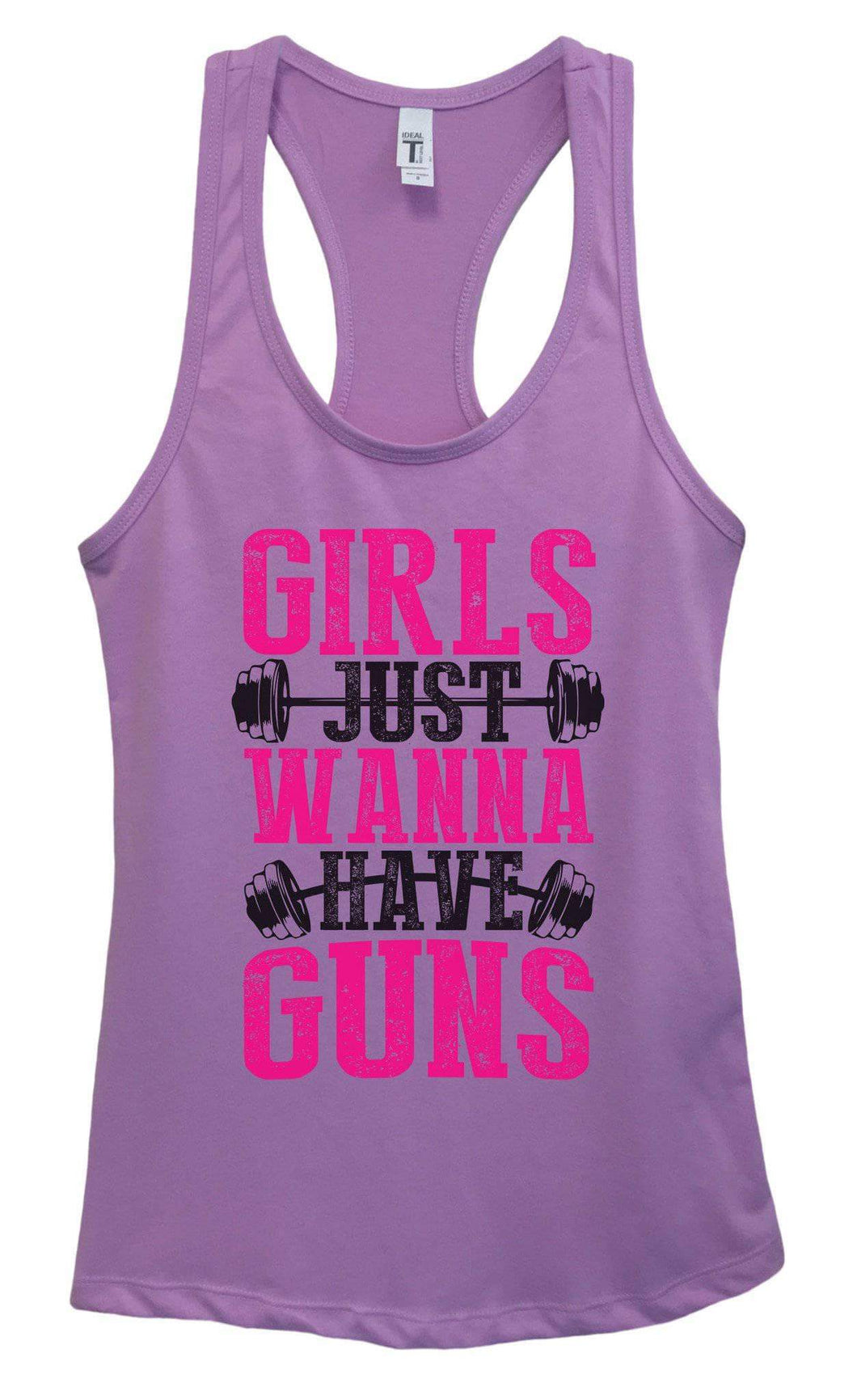 Womens Girls Just Wanna Have Guns Grapahic Design Fitted Tank Top Small Womens Tank Tops Lavender