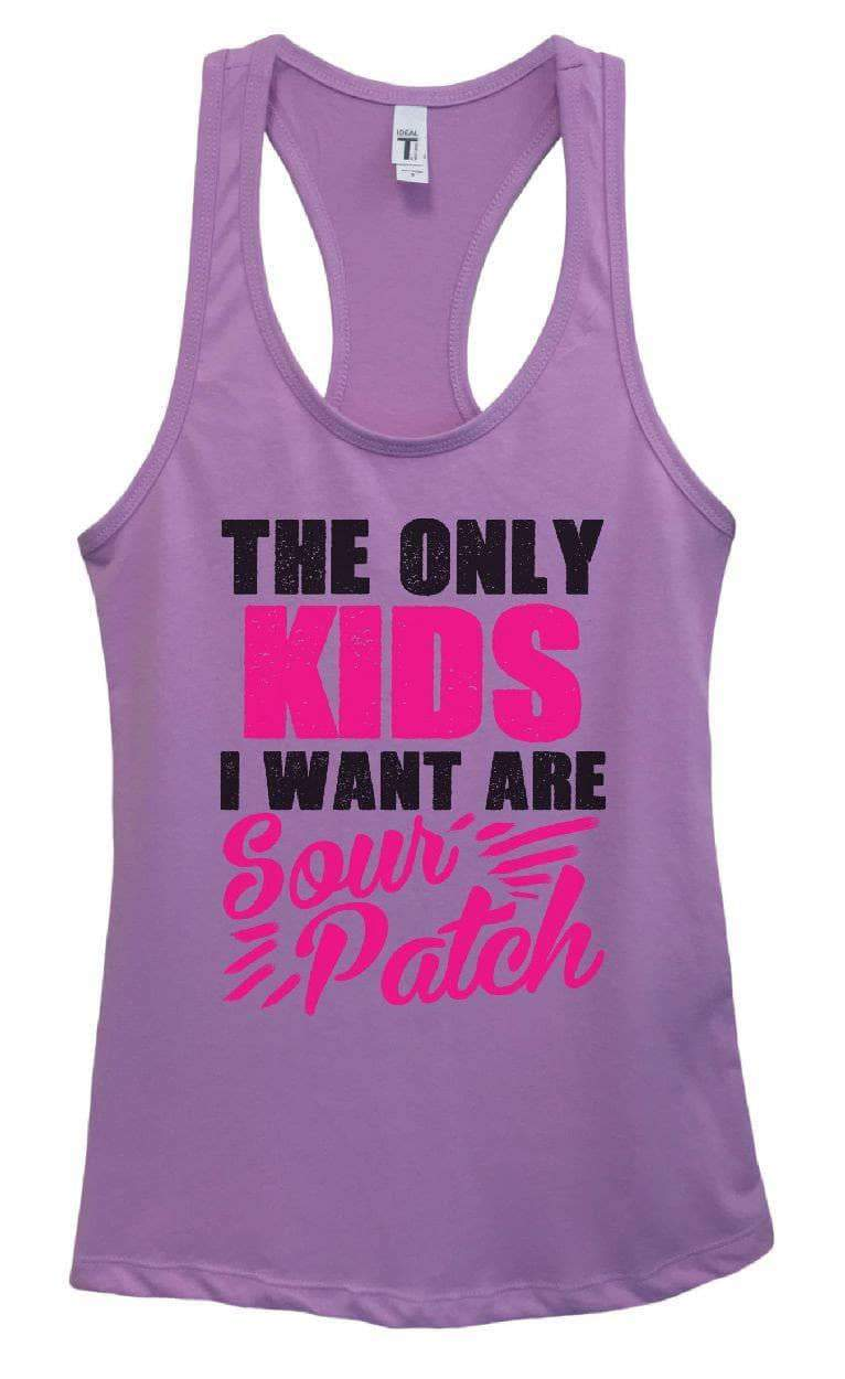 Womens The Only Kids I Want Are Sour Patch Grapahic Design Fitted Tank Top Small Womens Tank Tops Lavender
