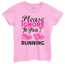 Womens Please Ignore The Faces I Make While Running Tshirt Small Womens Tank Tops Light Pink Tshirt