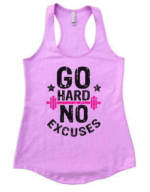 GO HARD NO EXCUSES Womens Workout Tank Top Small Womens Tank Tops Lilac