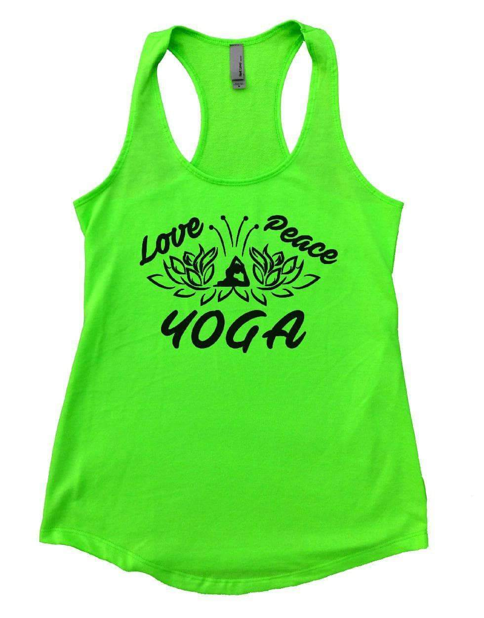 Love Peace YOGA Womens Workout Tank Top Small Womens Tank Tops Neon Green