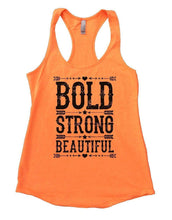 BOLD STRONG BEAUTIFUL Womens Workout Tank Top Small Womens Tank Tops Neon Orange