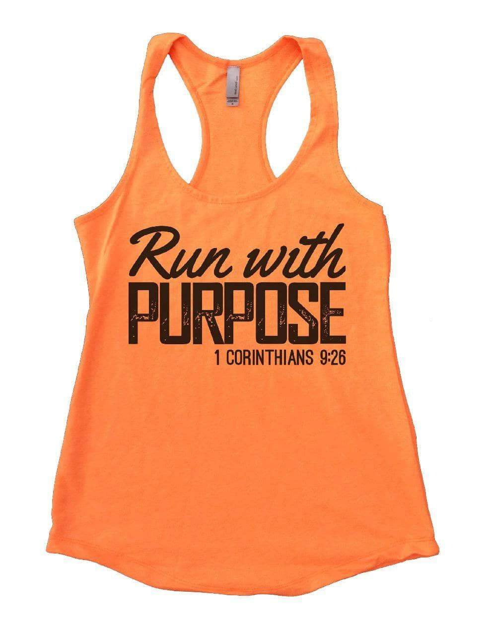 Run With PURPOSE 1 CORINTHIANS Womens Workout Tank Top Small Womens Tank Tops Neon Orange