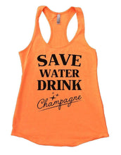 SAVE WATER DRINK Champagne Womens Workout Tank Top Small Womens Tank Tops Neon Orange
