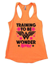 TRAINING TO BE WONDER Woman Womens Workout Tank Top Small Womens Tank Tops Neon Orange