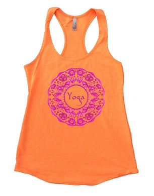 Yoga Design Flower Womens Workout Tank Top Small Womens Tank Tops Neon Orange