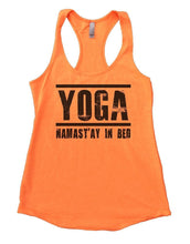 YOGA NAMAST'AY IN BED Womens Workout Tank Top Small Womens Tank Tops Neon Orange