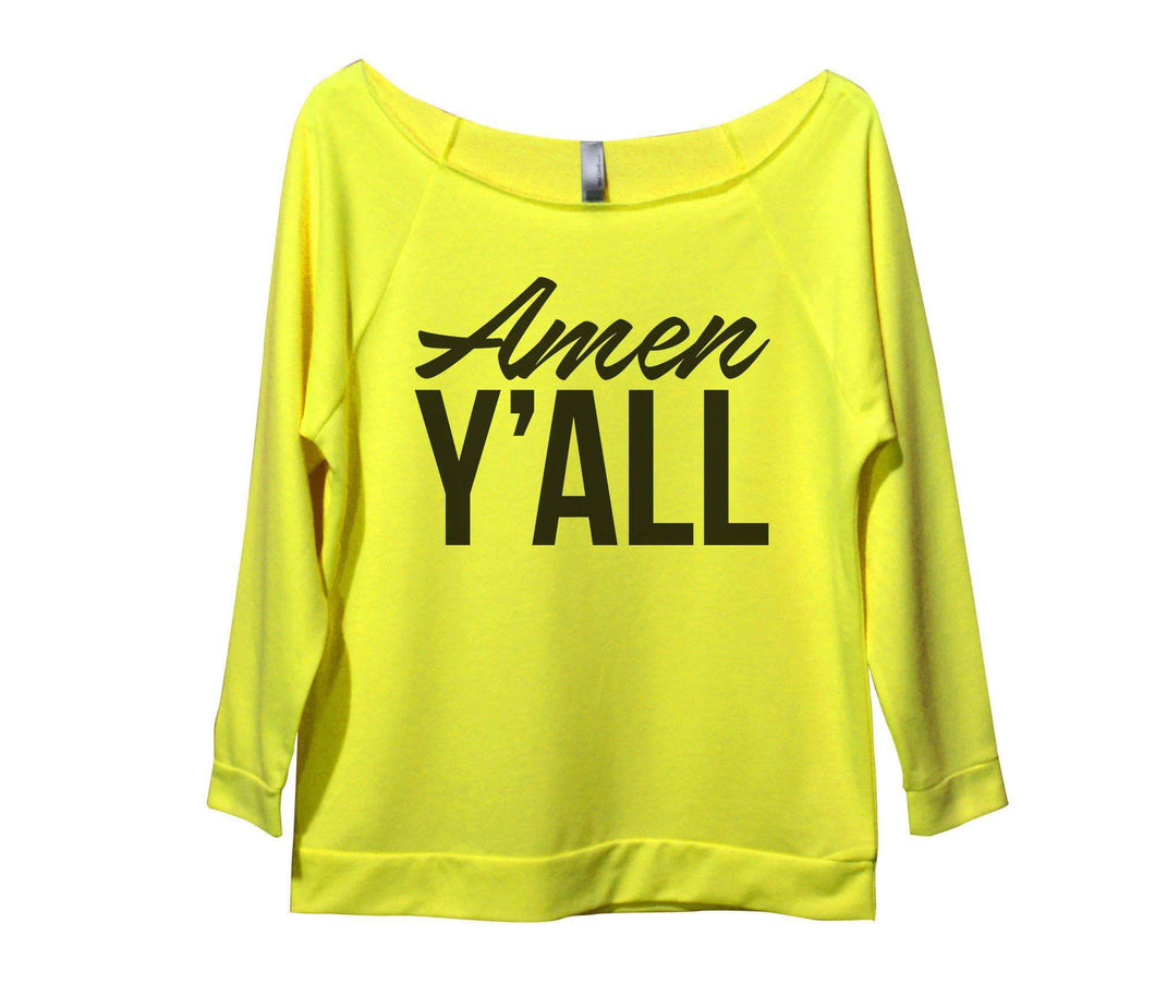 Amen Y'All Womens 3/4 Long Sleeve Vintage Raw Edge Shirt Small Womens Tank Tops Neon Yellow