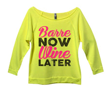 Barre Now Wine Later Womens 3/4 Long Sleeve Vintage Raw Edge Shirt Small Womens Tank Tops Neon Yellow