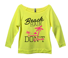 Beach Hair Don't Care Womens 3/4 Long Sleeve Vintage Raw Edge Shirt Small Womens Tank Tops Neon Yellow
